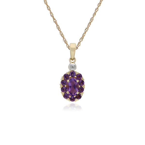 Cluster Round Amethyst & Diamond Oval Pendant in 9ct Yellow Gold
