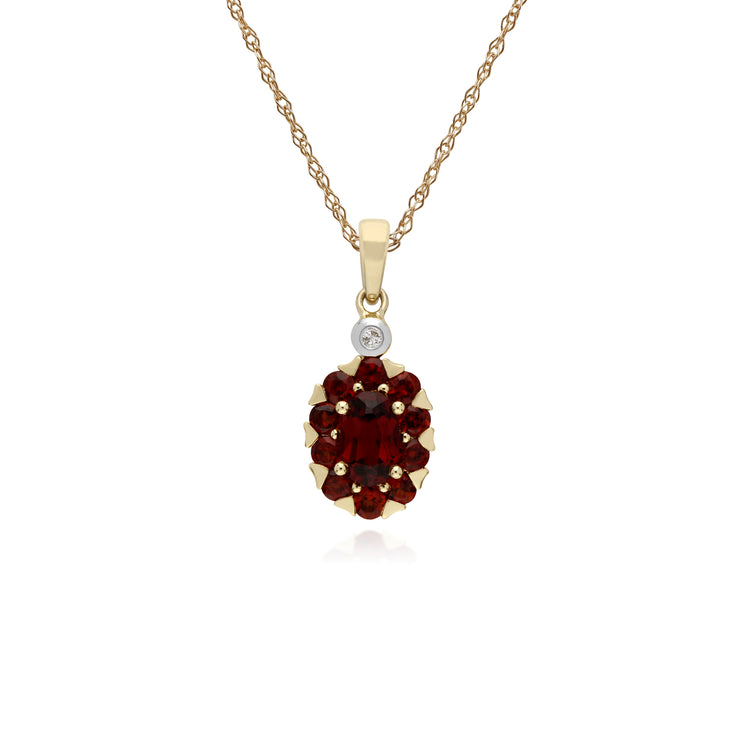 Cluster Round Garnet & Diamond Oval Pendant in 9ct Yellow Gold