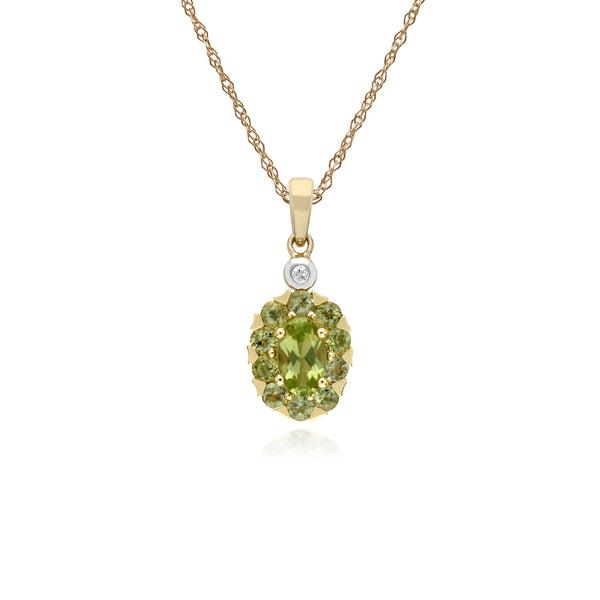 Cluster Round Peridot & Diamond Oval Pendant in 9ct Yellow Gold