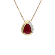 Classic Pear Ruby & Diamond Tear Drop Pendant in 9ct Yellow Gold