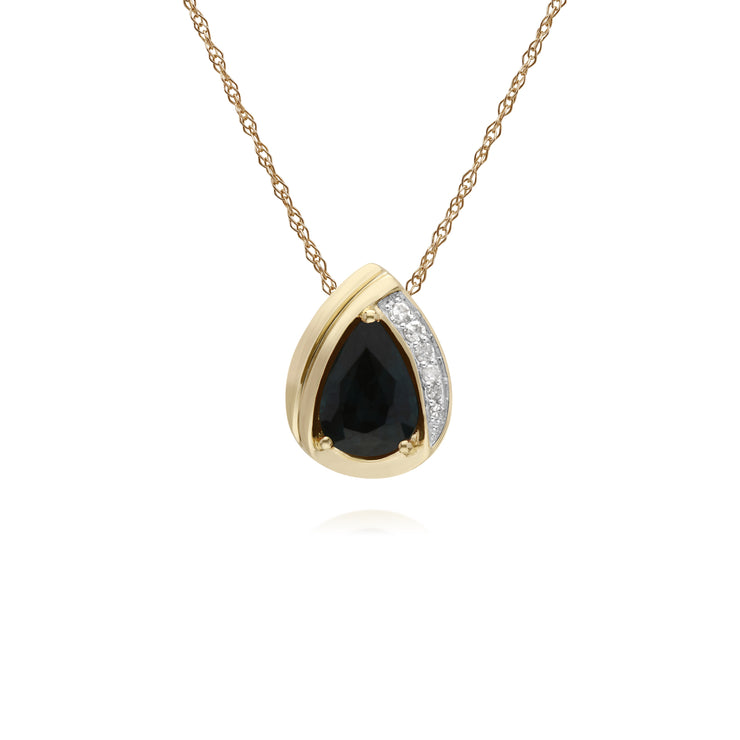 Classic Pear Sapphire & Diamond Tear Drop Pendant in 9ct Yellow Gold