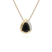 Gemondo 9ct Yellow Gold Sapphire & Diamond Pear Classic Pendant on 45cm Chain