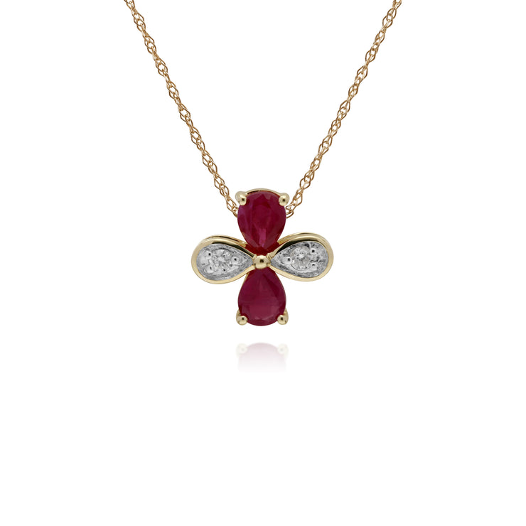 Floral Pear Ruby & Round Diamond Clover Pendant in 9ct Yellow Gold