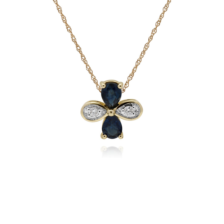 Floral Pear Sapphire & Round Diamond Clover Pendant in 9ct Yellow Gold