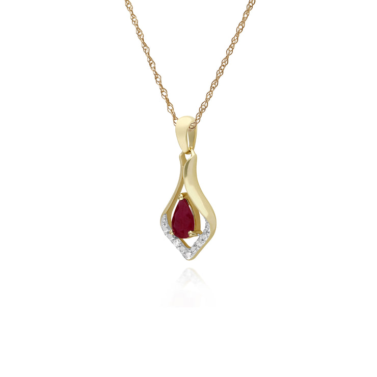 Classic Pear Ruby & Three Diamond Leaf Halo Pendant in 9ct Yellow Gold