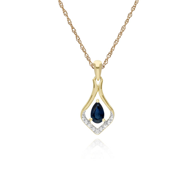 Sapphire & Three Diamond Leaf Halo Pendant