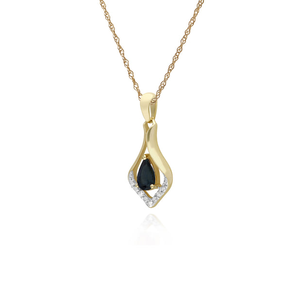 Classic Pear Sapphire & Three Diamond Leaf Halo Pendant in 9ct Yellow Gold