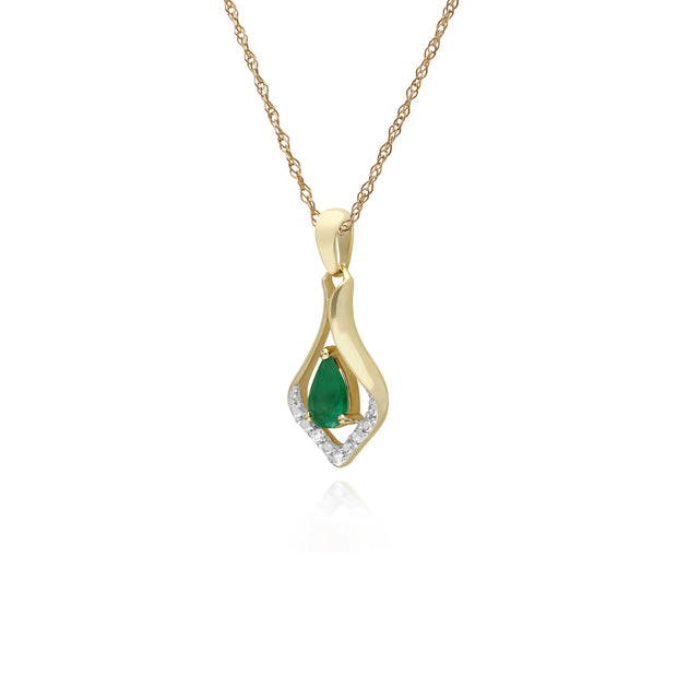 Classic Pear Emerald & Three Diamond Leaf Halo Pendant in 9ct Yellow Gold