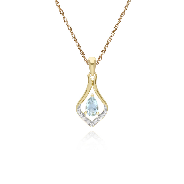 Classic Pear Aquamarine & Three Diamond Leaf Halo Pendant in 9ct Yellow Gold