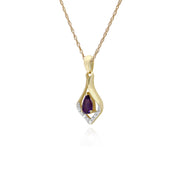 Classic Pear Amethyst & Three Diamond Leaf Halo Pendant in 9ct Yellow Gold