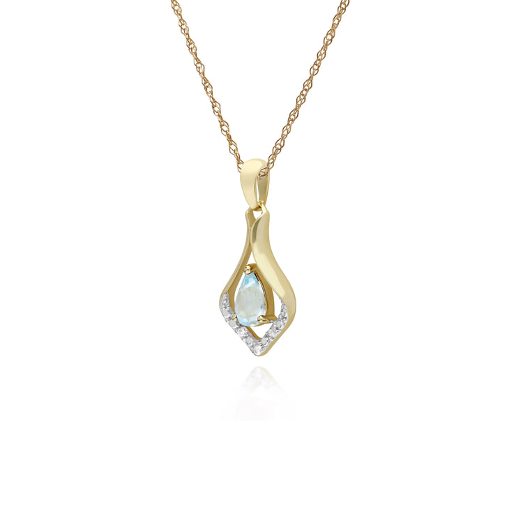 Classic Pear Blue Topaz & Three Diamond Leaf Halo Pendant in 9ct Yellow Gold