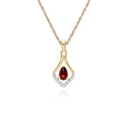 Classic Garnet & Diamond Leaf Drop Earrings & Pendant Set Image 3