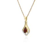 Classic Pear Garnet & Three Diamond Leaf Halo Pendant in 9ct Yellow Gold