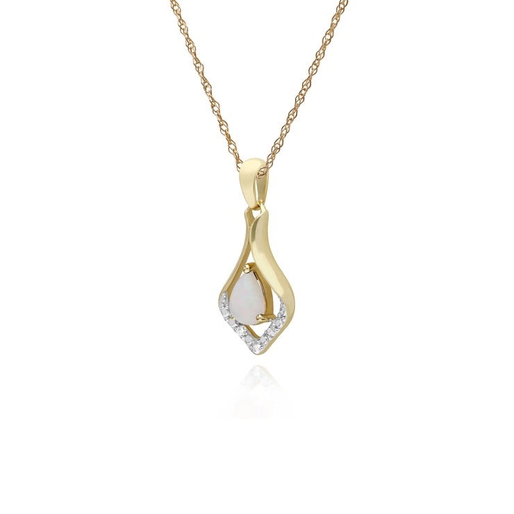 Classic Pear Opal & Three Diamond Leaf Halo Pendant in 9ct Yellow Gold