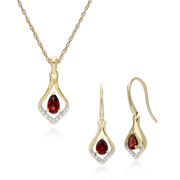 Classic Garnet & Diamond Leaf Drop Earrings & Pendant Set Image 1