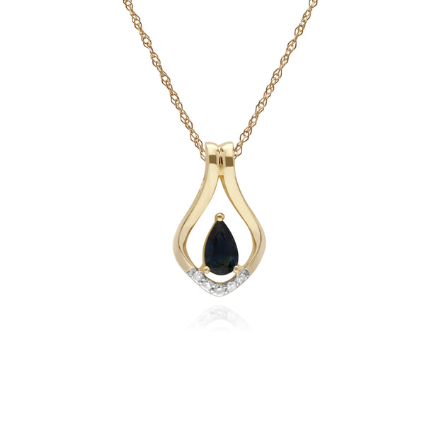 Classic Pear Sapphire & Five Diamond Leaf Halo Pendant in 9ct Yellow Gold
