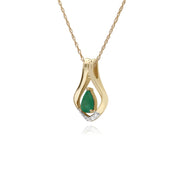 Classic Pear Emerald & Five Diamond Leaf Halo Pendant in 9ct Yellow Gold