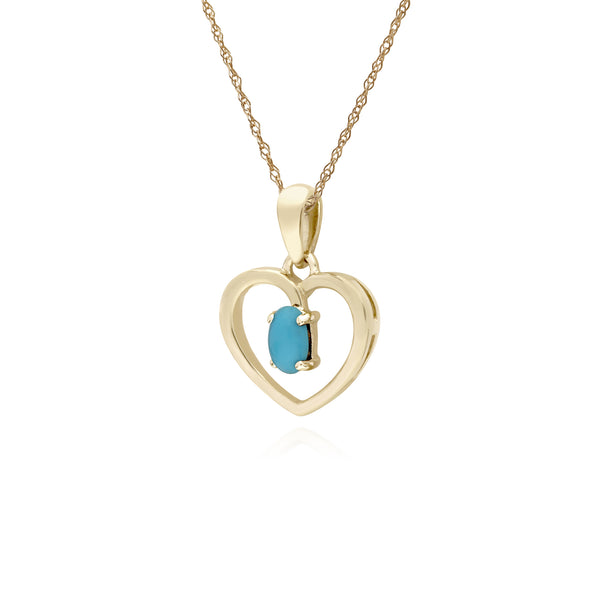 Classic Turquoise Heart Pendant Necklace Image 2