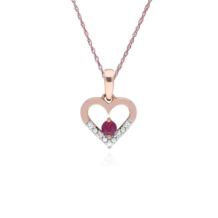 Classic Round Ruby & Diamond Love Heart Shaped Pendant in 9ct Yellow Gold