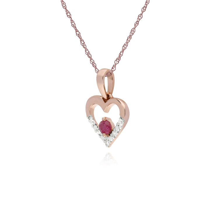 Classic Round Ruby & Diamond Love Heart Shaped Pendant in 9ct Rose Gold