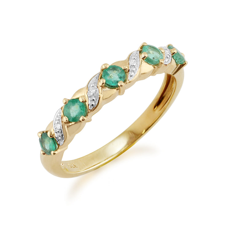 Classic Art Nouveau Style Emerald & Diamond Half Eternity Ring