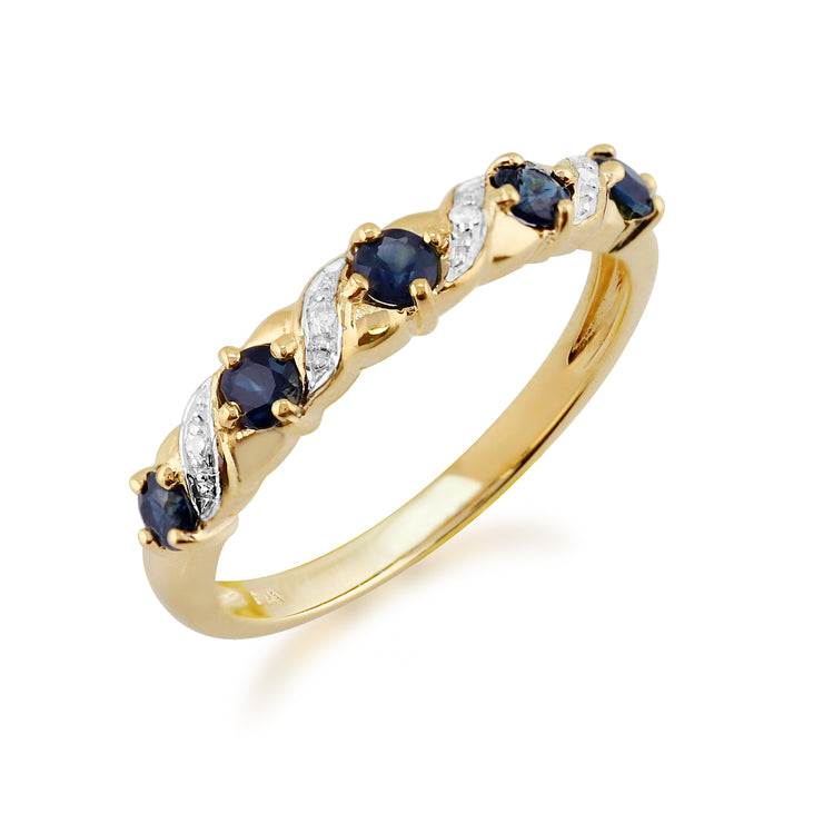 10ct Yellow Gold Sapphire & Diamond Half Eternity Ring