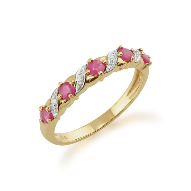 Classic Art Nouveau Ruby & Diamond Half Eternity Ring