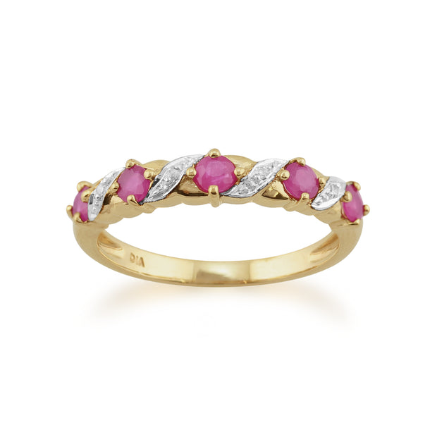 Classic Art Nouveau Ruby & Diamond Half Eternity Ring in 9ct Yellow Gold