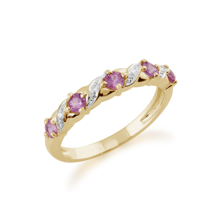 Classic Art Nouveau Style 9ct Yellow Gold Pink Sapphire & Diamond Half Eternity Ring Side