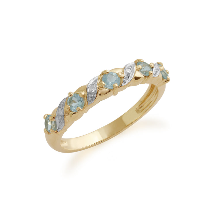 Classic 0.45ct Blue Topaz & Diamond Half Eternity Ring in 9ct Yellow Gold