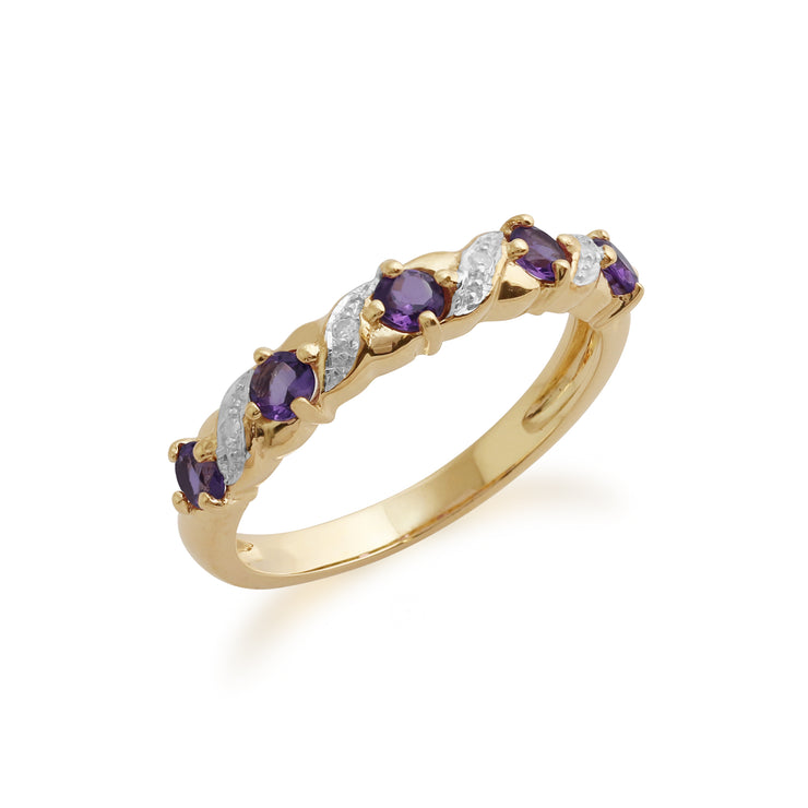 10ct Yellow Gold Amethyst & Diamond Half Eternity  Ring