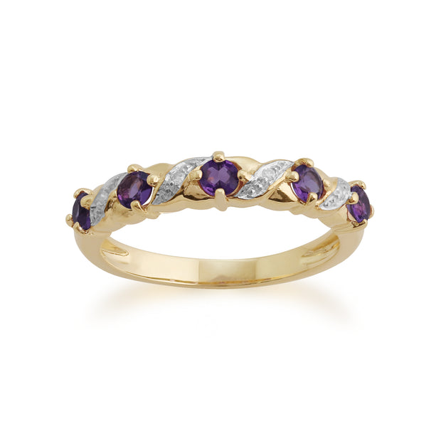 Classic Amethyst & Diamond Half Eternity Ring in 9ct Yellow Gold