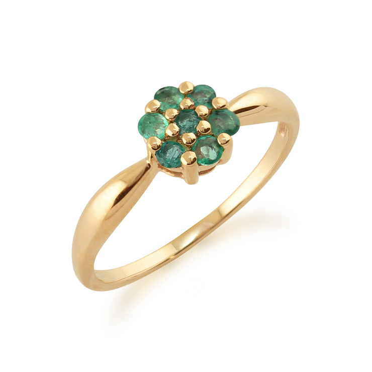 Floral Round Emerald Cluster Ring in 9ct Yellow Gold