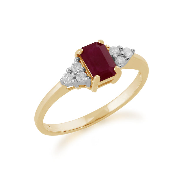 Classic Baguette Ruby & Diamond in 9ct Yellow Gold