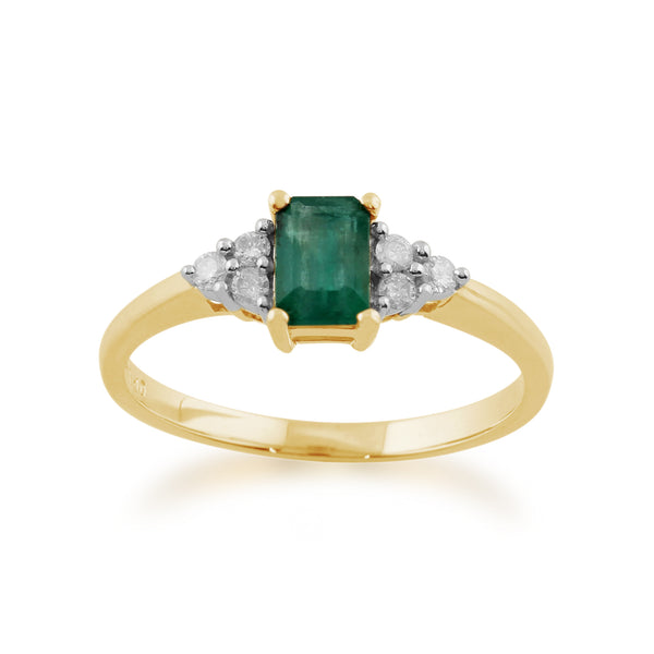 Classic Baguette Emerald & Diamond Ring in 9ct Yellow Gold