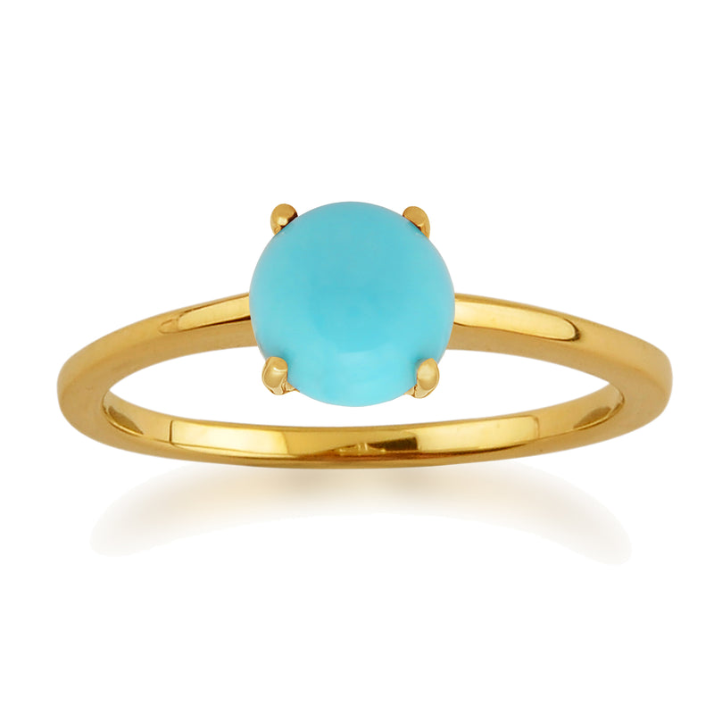 Classic Solitaire Turquoise Ring in 9ct Yellow Gold