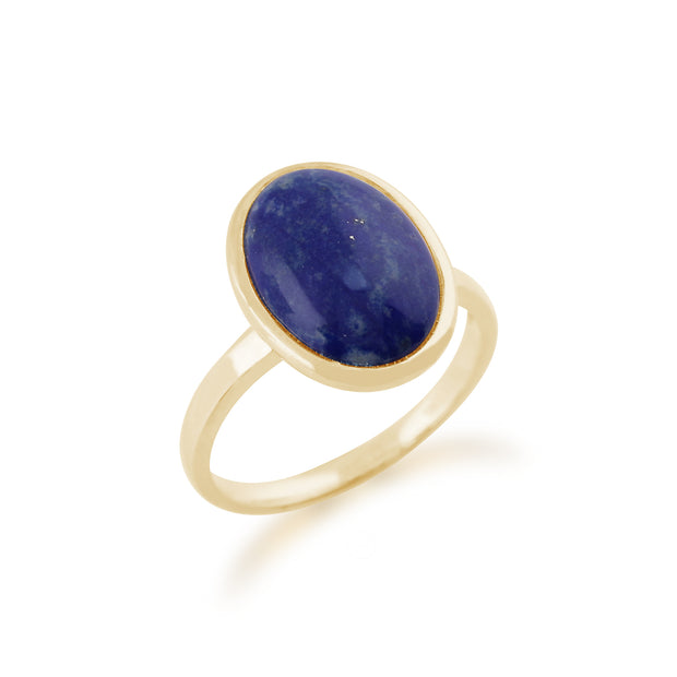 Statement Oval Lapis Lazuli Ring in 9ct Yellow Gold