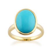 Statement Oval Turquoise Ring in 9ct Yellow Gold