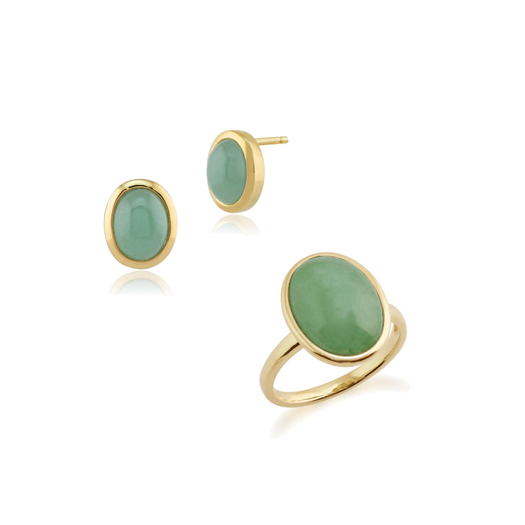 Classic Oval Green Jade Bezel Stud Earrings & Cocktail Ring Set in 9ct Yellow Gold