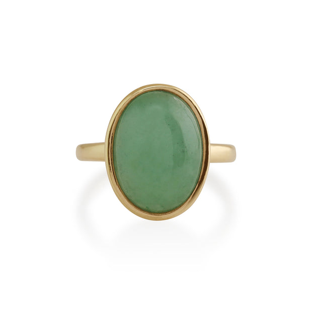 Statement Oval Jade Ring in 9ct Yellow Gold