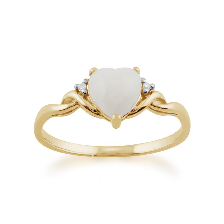 Classic Opal Heart Ring in 9ct Yellow Gold