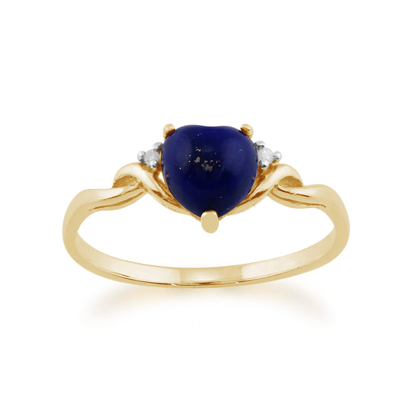 Classic Lapis Lazuli & Diamond Heart Ring in 9ct Yellow Gold