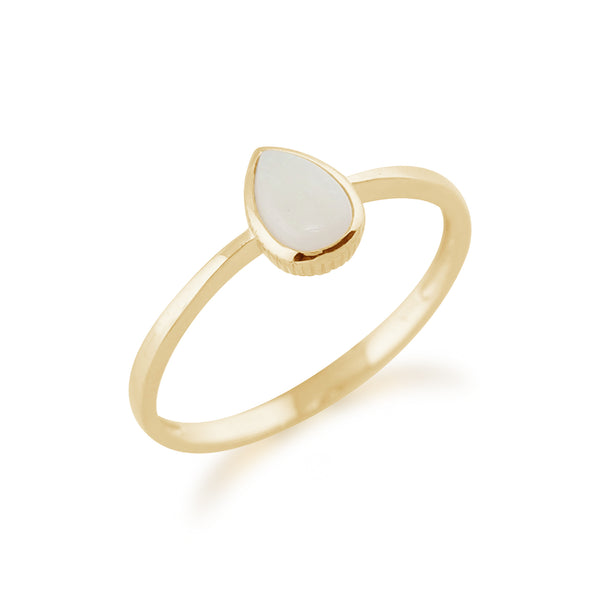 Classic Pear Shaped Opal Ring in 9ct Yellow Gold