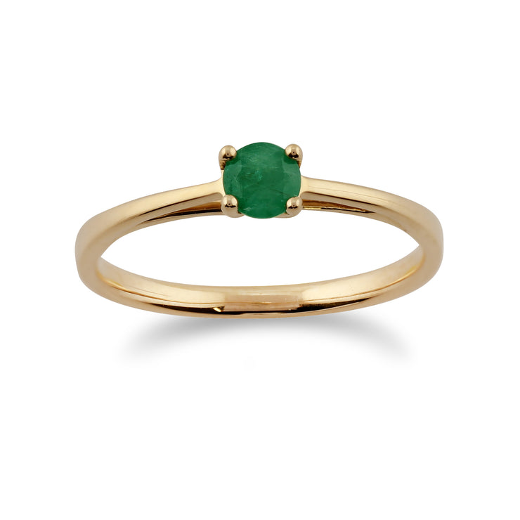 Classic Round Emerald Ring in 9ct Yellow Gold