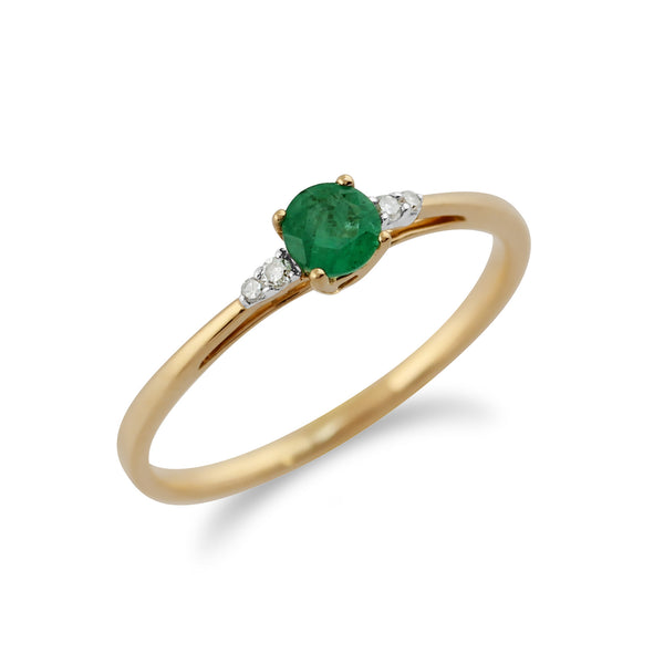 Classic Round Emerald & Diamond Ring in 9ct Yellow Gold
