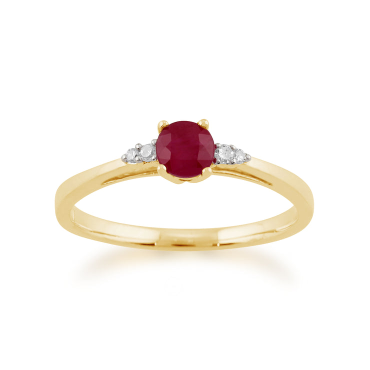 Classic Round Ruby & Diamond Ring in 9ct Yellow Gold