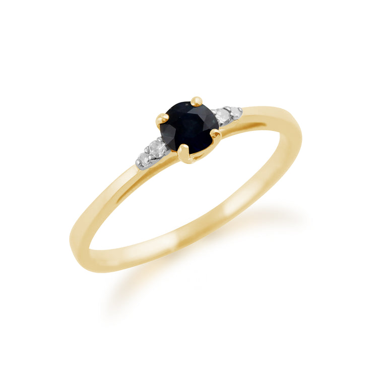 Classic Round Sapphire & Diamond Ring in 9ct Yellow Gold