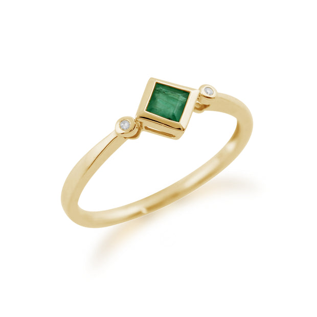 Geometric Square Emerald & Diamond Ring in 9ct Yellow Gold