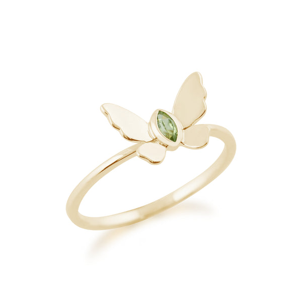Gemondo 9ct Yellow Gold 0.07ct Peridot Butterfly Ring Image 2