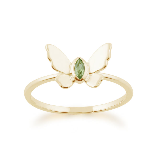 Gemondo 9ct Yellow Gold 0.07ct Peridot Butterfly Ring Image 1